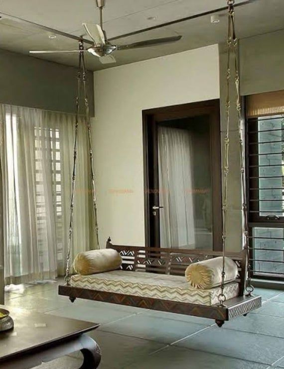 Jhoola For Living Room Indian Handmade Love Seat Wooden Ceiling Swing With Metal Chain In 2021 Swing In Living Room Living Room Designs Indian Living Rooms Living room means in hindi