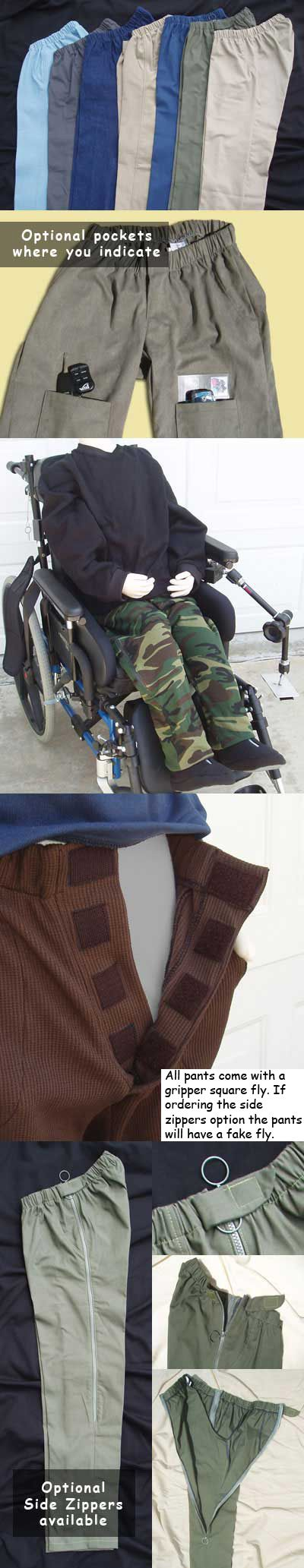 Sitter pants for the wheelchair user.