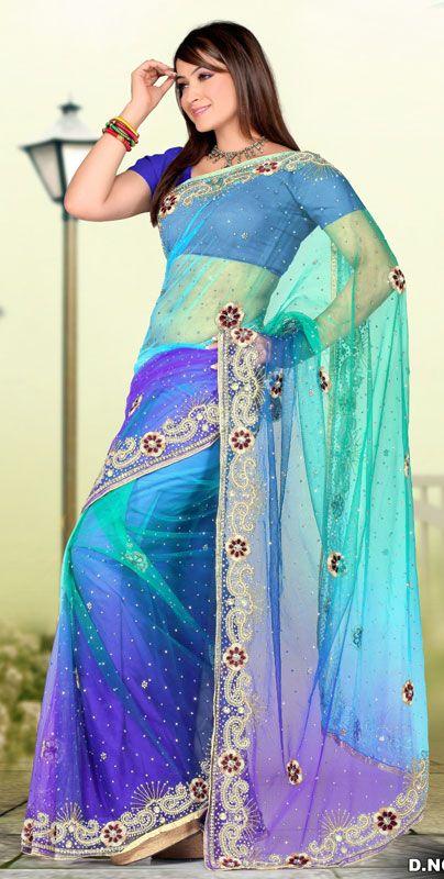 Blue Shaded Color Net Designer Hand Work Saree. Sale : $330.60