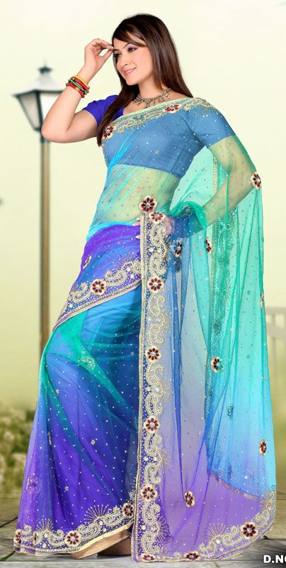 Blue Shaded Color Net Designer Hand Work Saree. Sale : $330.60
