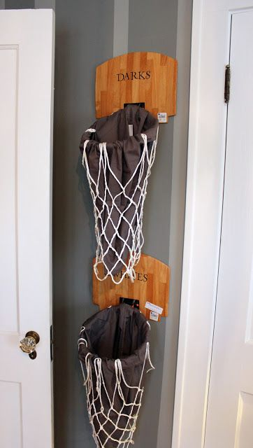 cute idea for a boys sports theme room-- basketball hoops - add liner for laundry bags