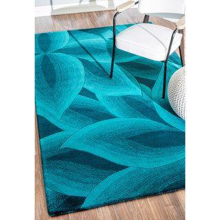 NuLOOM Handmade Leaves Wool Turquoise Rug (8u00276 X 11u00276) By Nuloom
