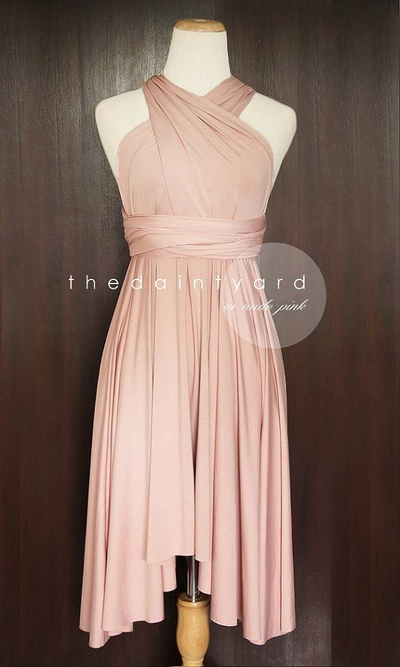 Nude Pink Bridesmaid Convertible Dress Infinity by thedaintyard