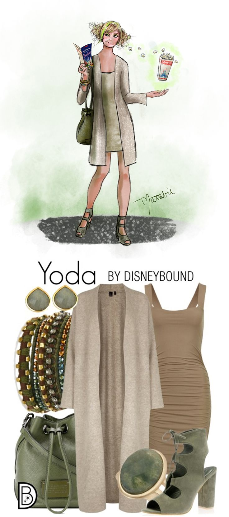 Star Wars style inspired by Jedi master Yoda, created by DisneyBound's Leslie Kay, and sketched by Matthew Simpson.