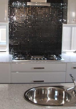 White Kitchen Black Mosaic Splashback Part 73