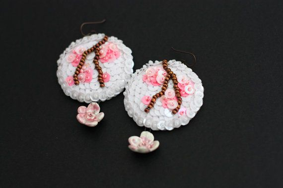 #Sakura Blossom #Earrings, White Pink #Sequins, #Spring Porcelain #Flowers, #Statement Long Earrings, #Felt #Embroidery #Jewelry by Velanch