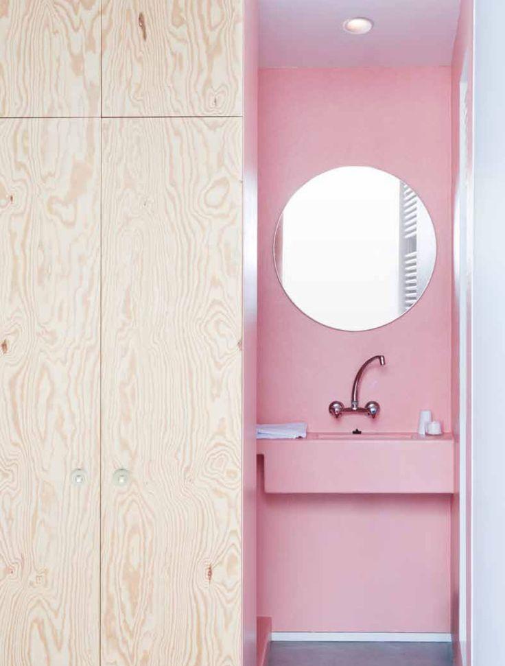Roze badkamer, armatuur 'minicake' by modular