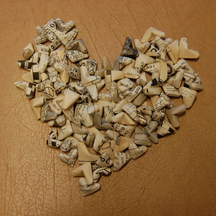 A heart, made of origami paper hearts - Louise S.A. Allen