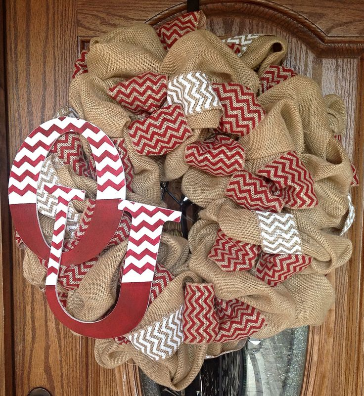 University of Oklahoma OU Sooners Tan Burlap Wreath by ThatsAHoot, $70.00