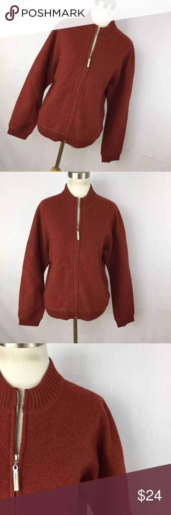 "Isda & Co L Jacket Boiled Wool Rust Orange Zip Up This is a great boiled wool jacket with a zipper front. 100% wool. Chest measurement  - 44"" Length measurement - 23"" Sleeve Length measurement - 24"". Excellent condition. Smoke free home isda Jackets & Coats"