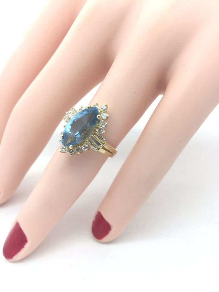 Ladies 4 1/2 Carat Marquise Fine Sky Blue Topaz Diamond 14K Yellow Gold Ring  #Unbranded #Cocktail