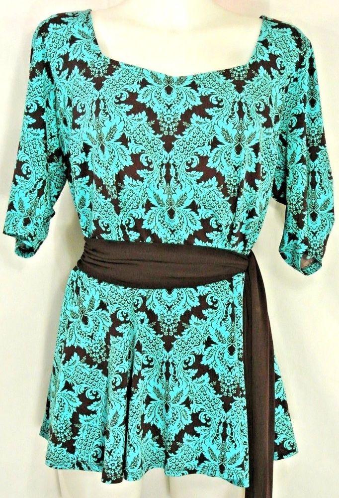 9662e4a968 Plus 1XL 16W~Dressbarn~Vintage Baroque Print Tunic~Dressy Top~Peplum~Belted~Work   Dressbarn  TunicTop  PartyCasual
