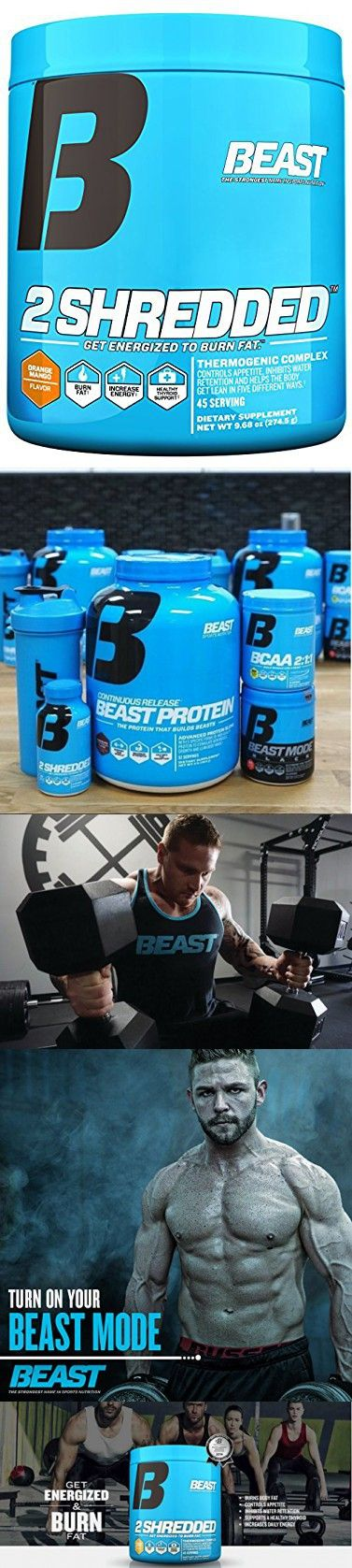 Beast Sports Nutrition 2 Shredded Powder Thermogenic Weight Loss Supplement. Acts As a Fat Burner, Appetite Suppressant and Diuretic To Help Shed Fat and Excess Water. 45 Servings, Orange Mango