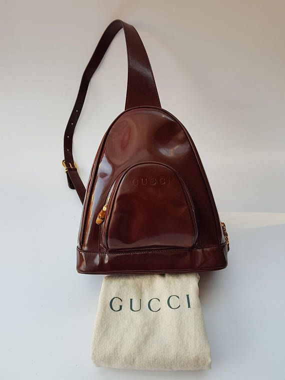 f771e039d8e5 GUCCI Bamboo Vintage Brown Leather Backpack / Shoulder Bag. Italian ...