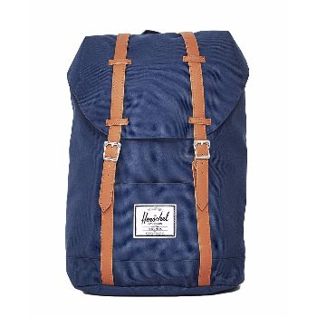 Navy Retreat Backpack: Navy retreat backpack. The Retreat range is like a shrunken version of Herschel's Little America range. It's given a reinforced bottom, laptop sleeve and contoured shoulder straps for added comfort. Fully lined with signature coated cotton-poly fabric. Magnetic strap closure. Up to 15'' laptop sleeve. Reinforced bottom. External sleeve pocket.