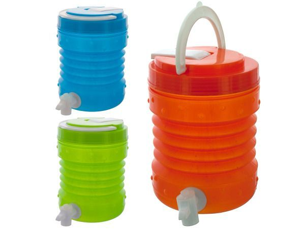 1.5 Liter Drink Container, 24 - Great for travel and on the go, this drink container provides a convenient way to carry your favorite drink. Its unique design is modeled after a large sports cooler but is perfect for personal use and easily holds 1.5 liters of liquid. Features include: a sturdy handle, a bottom spout for filling cups and a flip top for drinking straight from the container. Comes in assorted colors including lime green, orange and turquoise. Comes loose.-Colors…