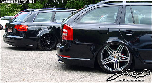 Black Skoda Octavia VRS Wagon on air ride and Porsche wheels at Wörthersee 2010