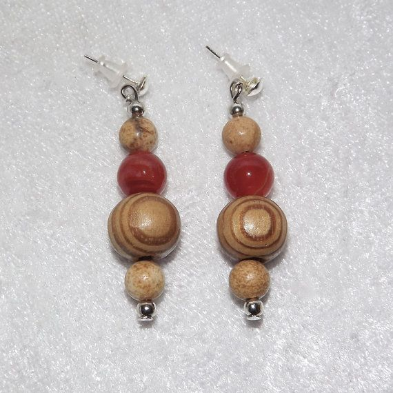 Earrings  Back to Nature Wood & Carnelian  FREE UK by KasumiCrafts