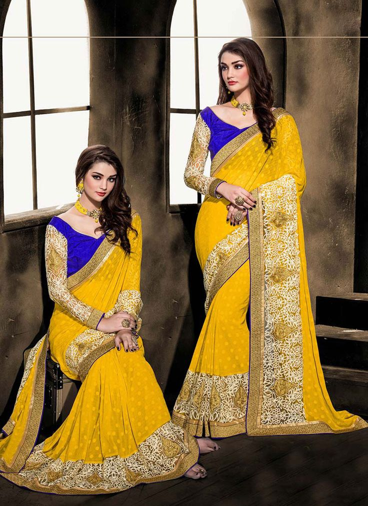 Yellow Georgette Party Wear Saree 63296
