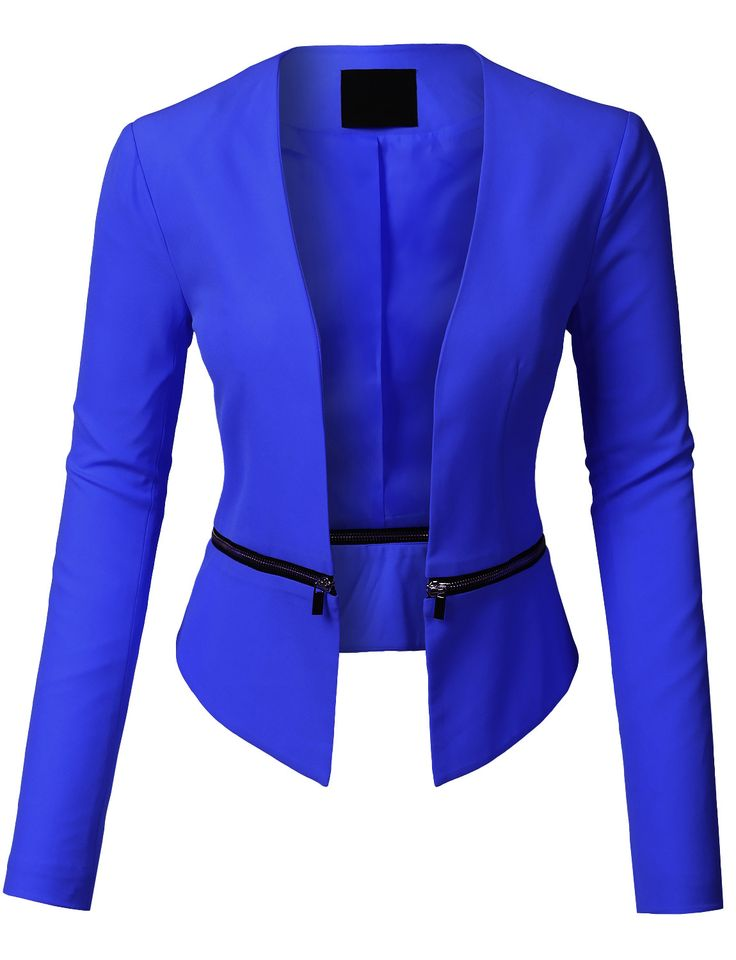 LE3NO Womens Long Sleeve Open Front Blazer Jacket with Detachable Hem