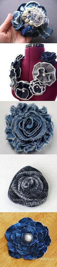 Цветы из джинсовой ткани... Идеи, мастер-классы...