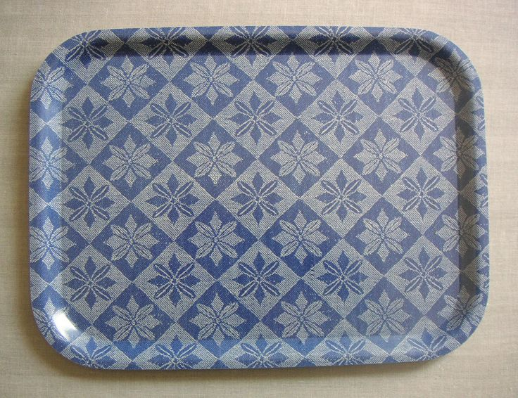 Birchwood tray with fabric (unknown design) Traditional swedish fabric for mattress.