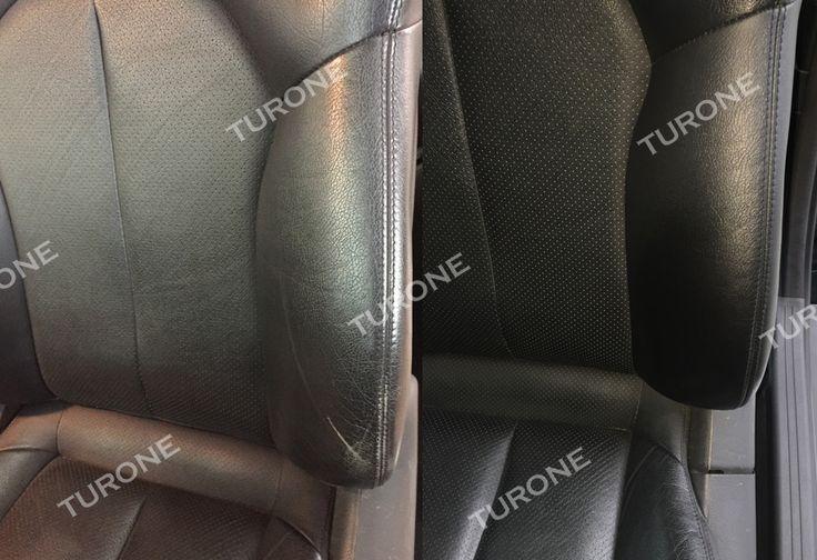 """INTERNI IN PELLE: RIPARAZIONE SEDILI AUTO Gli interni in pelle della tua auto sono graffiati o rovinati? Anziché sostituire direttamente i sedili in pelle, perché non provi prima a ripararli?  Turone sa come riparare i graffi o le screpolature dei sedili in pelle. Dopo un trattamento accurato e minuzioso i sedili della tua auto torneranno come nuovi. Nella foto: Riparazione sedili in pelle Mercedes CLK prima e dopo. Guarda la sezione """" I nostri lavori"""" e tieniti sempre aggiornato."""