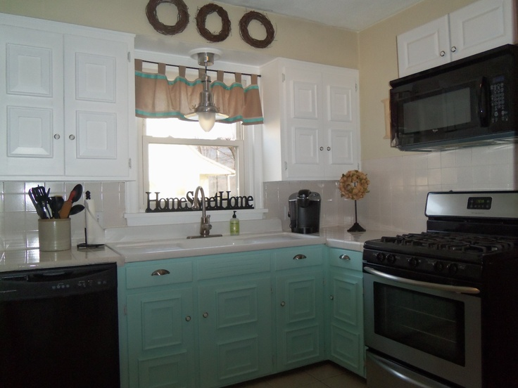 """Thank you Pinterest for the Kitchen Inspiration! Base Cabinets:   Behr """"Cool Jazzy"""",   Nautical Pendant Light: Ikea,  **I like to call this look """"Cottage Chic"""" :)"""