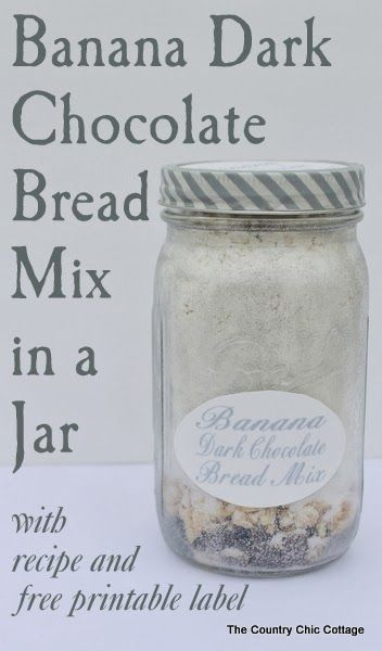 Banana Dark Chocolate Bread Mix in a Jar -- a great gift for anyone on your holiday gift giving list. This one is perfect for Christmas or any holiday. Give as a hostess gift as well. (Should use powdered eggs and powdered milk in mix.)