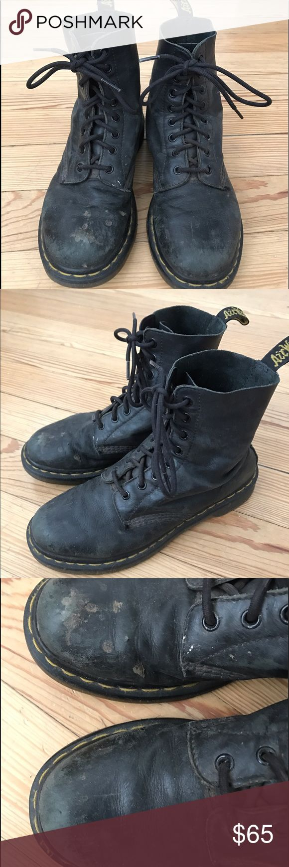 Dr martens original 1460 boots Definitely well worn but still quality leather and sole without any structural flaws. Only damage is cosmetic but it gives a punky vibe that suits them. These boots will still last forever in true docs form. Dr. Martens Shoes Lace Up Boots