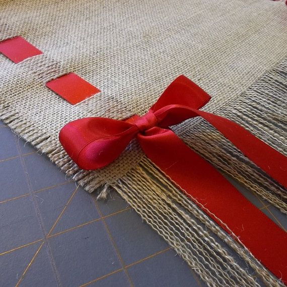 14 x 108 Burlap Runner with Red Ribbon by cherrycheckers on Etsy, $32.00