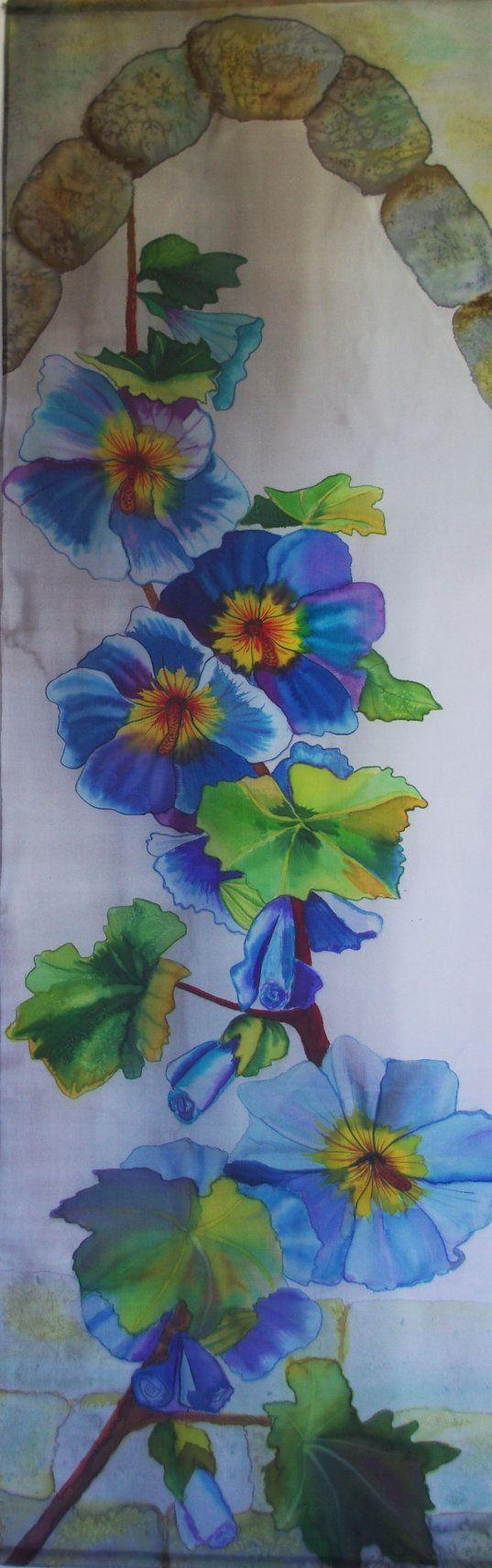 Painting on silk Morning glory Wall hanging Batik by ArtbyLora