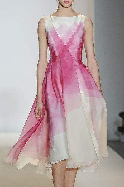 Lela Rose. What a gorgeous dress. Boat neck sleeveless, classic full skirt, cream silk with overlapping washes of rose
