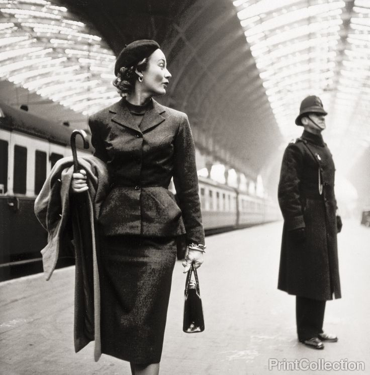 This fashion model in Victoria Station, London, was photographed by Toni Frissell in 1951, and published in Harper's bazaar the same year.