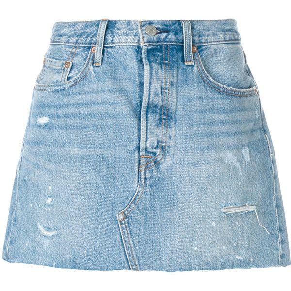 Levi's ripped denim skirt ($85) ❤ liked on Polyvore featuring skirts, mini skirts, blue, denim skirt, straight skirt, short denim skirt, blue skirt and short mini skirts