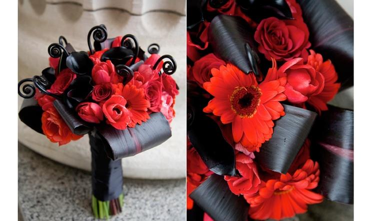 Red & black wedding bouquet