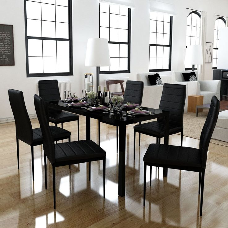 Black Glass Dining Table w/ 6 Artificial Leather Chairs Rectangle Modern Kitchen