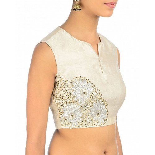 Beautiful! Designer raw silk blouse with white sequins and floral applique work! Shop for lehenga choli and saree blouse at dvibgyor.com