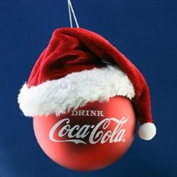 4.5″ Red Coca-Cola Ball with Santa Claus Hat Christmas Ornament