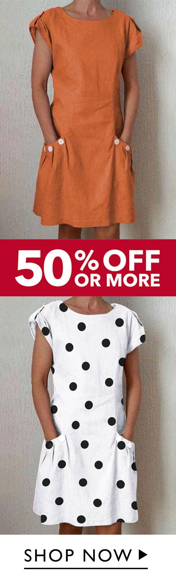 Summer Pockets Linen Plus Size Dresses 2