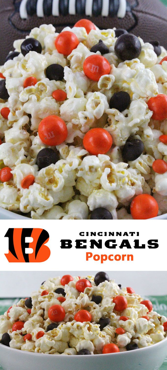 Cincinnati Bengals Popcorn for those Cincinnati Bengals fans in your life. Sweet, salty, crunchy and delicious and it is extremely easy to make. This delicious popcorn will be perfect at your next game day football party. a NFL playoff party or a Super Bowl party. Follow us for more fun Super Bowl Food Ideas.