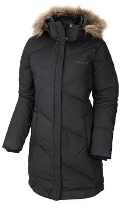 Ultra-warm synthetic insulation and a street-friendly longer cut with great coverage come together in this feminine down-style winter coat that completely eclipses the cold. The water-resistant shell fabric features large chevron-shaped baffling lines that are modern and flattering, and the removable hood sports faux-fur trim for an added dose of winter glamour.