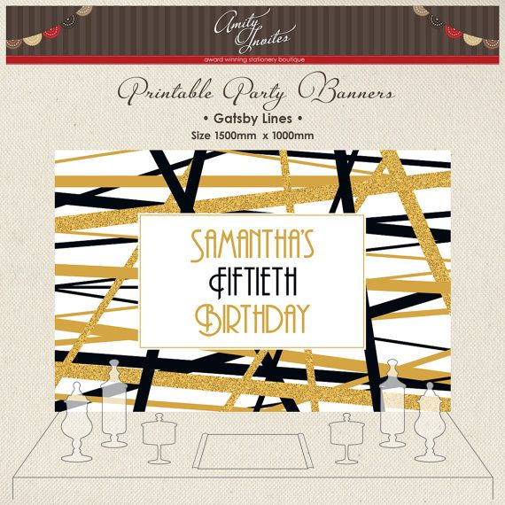 Printable Party Banner Buffet Candy Backdrop by AmityInvites