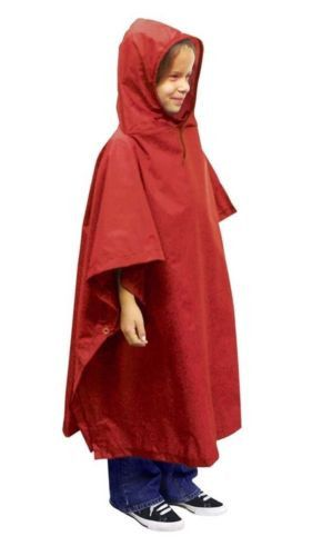 OUTDOOR PRODUCTS Kids Red Waterproof Poncho Unisex O/S