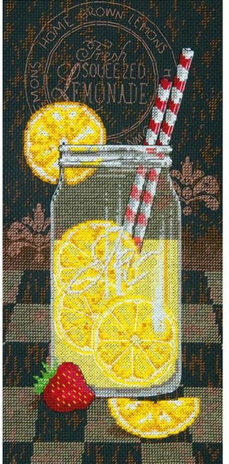 Dimensions Lemonade Diner - Cross Stitch Kit. This cross stitch kit contains 14-count Aida fabric, pre-sorted six-strand 100% cotton floss, needle, graph and in