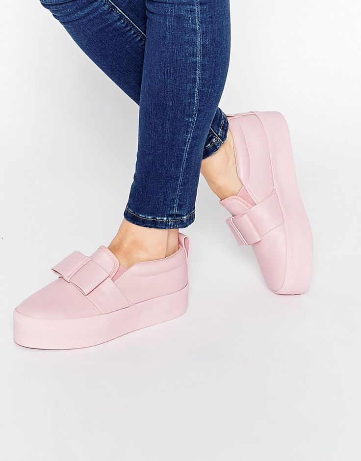 Image 1 ofASOS DARK MOON Bow Drenched Flatform Trainers
