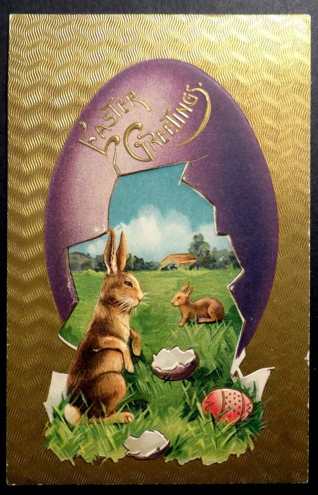 RABBITS WITH GIANT EGG Fantasy Easter Postcard 1909 Colored Eggs MAX FEINBERG