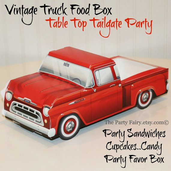 Food Trays,  Truck Box, 6 Red Truck Food Box Trays, Tailgate Party, Rustic Wedding Favors, Party Food Tray, Kids Meal,  Paper Car Favor Box