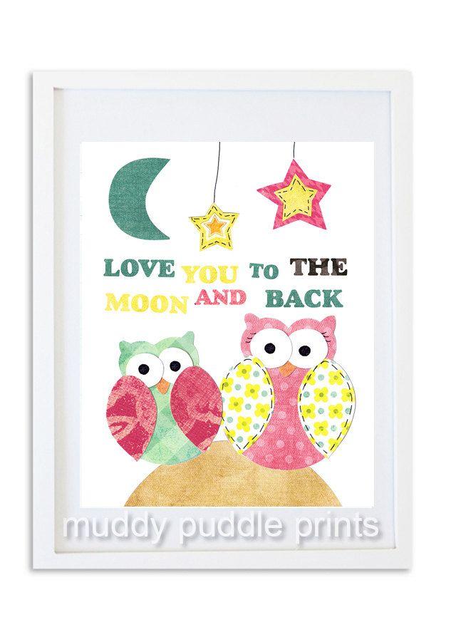 Girls room nursery art Quote print owl decor by MuddyPuddlePrints, $14.00