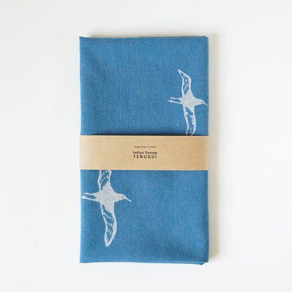 Tenugui Japanese  Cotton Towel Fabric dyed with indigo 'albatross' on Etsy, ¥1,500.00